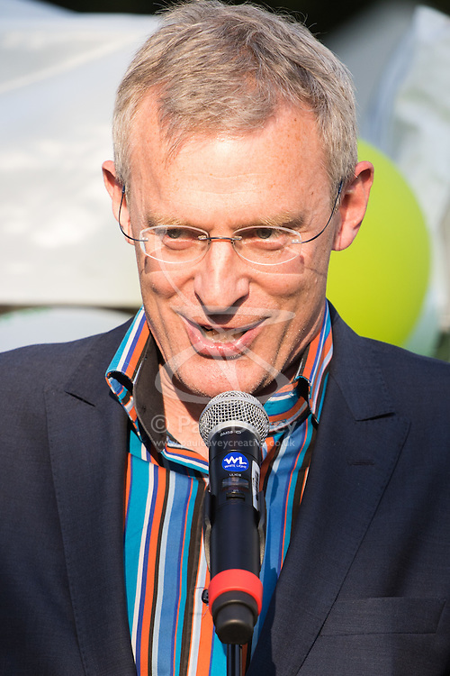 Westminster, London, June 6th 2016. Compere Jeremy Vine keeps the crowd entertained as teams from uk industry as well as the House of Commons and the House of Lords compete in the annual McMillan Cancer Charity tug o' war.