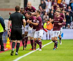 Hearts' Kyle Lafferty celebrates scoring the opening goal during the Ladbrokes Scottish Premiership match at Tynecastle Stadium, Edinburgh.