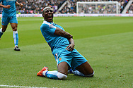 Wolverhampton Wanderers striker Benik Afobe celebrates the equaliser during the Sky Bet Championship match between Derby County and Wolverhampton Wanderers at the iPro Stadium, Derby, England on 18 October 2015. Photo by Alan Franklin.