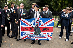 © Licensed to London News Pictures. 16/09/2017. London, UK. Justice for Northern Ireland Veterans   gather on Horseguards Parade before holding a demonstration in central London. Photo credit : Tom Nicholson/LNP