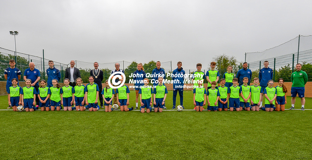 Group of participants , dignatories and FAI officials    at the FAI Summer Soccer Schools at MDL, Navan.<br /> <br /> Photo: GERRY SHANAHAN-WWW.QUIRKE.IE<br /> <br /> 01-07-2021
