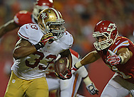 KANSAS CITY, MO - AUGUST 16:  Running back Jewel Hampton #33 of the San Francisco 49ers rushes against linebacker Frank Zombo #51 of the Kansas City Chiefs during the second half on August 16, 2013 at Arrowhead Stadium in Kansas City, Missouri.  The 49ers won 15-13. (Photo by Peter Aiken/Getty Images) *** Local Caption *** Jewel Hampton;Frank Zombo