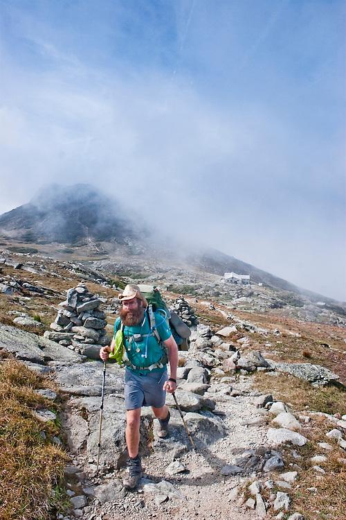 Thru-Hiker Stewball on his way to the summit of Mt. Washington, White Mountains, NH.