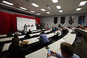 September 29, 2015: Guenther Steiner, Haas F1 Team principle. , Romain Grosjean, Gene Haas Haas Formula 1 team.