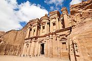 Tourists approach The Monastery (Al Deir) in Petra, Jordan.