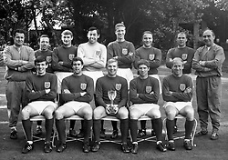 File photo dated 02-11-1966 of The England football team with the Jules Rimet trophy which they won in the 1966 World Cup final. Back Row (left to right) Harold Shepherdson, Nobby Stiles, Roger Hunt, Gordon Banks, Jack Charlton, George Cohen, Ray Wilson and Alf Ramsay. Front Row (left to right) Martin Peters, Geoff Hurst, Bobby Moore, Alan Ball and Bobby Charlton.