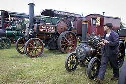 May 29, 2017 - GREATER MANCHESTER, ENGLAND - ALTRINCHAM ,GREATER MANCHESTER,UK.  ..Ashley Hall Traction Engine Rally today (Monday 29th May 2017). The rally , hosted at Ashley Hall for the third year running , took place over the bank holiday weekend from Saturday 27th May until Sunday 29th May..John Macdonald Smith and son Hugo Macdonald Smith, nine. (Credit Image: © Chris Bull/London News Pictures via ZUMA Wire)
