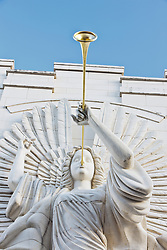 Trumpeting angel sculpture, Bass Performance Hall, Downtown Fort Worth, Texas, USA.