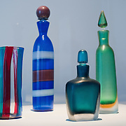 """VENICE, ITALY - DECEMBER 10: Murano glass bottles by Venini 1950 on display at the press preview of the exhibition """"The Adventure of Glass"""" at  Museo Correr on December 10, 2010 in Venice, Italy. After nearly thirty years Correr Museum is hosting a prestigious exhibition in celebration of over a thousands years history of glass in Venice and the Lagoon"""