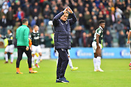 AFC Wimbledon manager Neal Ardley applauds the travelling fans at full time after a 1-0 loss during the EFL Sky Bet League 1 match between Plymouth Argyle and AFC Wimbledon at Home Park, Plymouth, England on 6 October 2018.