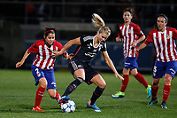 Atletico de Madrid´s Robles and Olympique Lyonnais´s Hegerberg during UEFA Women´s Champions League soccer match between Atletico de Madrid and Olympique Lyonnais, in Madrid, Spain. November 11, 2015. (ALTERPHOTOS/Victor Blanco)