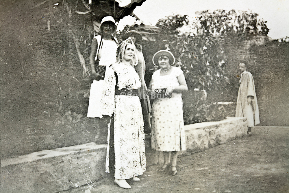 western tourists one dressed up in Moroccan traditional clothing Morocco1930s