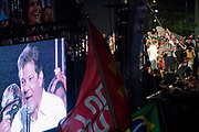 Approx 60,000 people came together support of Fernando Haddad and the workers party / PT, before this weekends second round election runoff. Supporters say they are voting in support of democracy and freedom, as many fear that far right candidtae Jair Bolsonaro would rule in an authoritarian way. Caetano Veloso and Chico Buraque alongside Criolo also played to the huge crowd in front of the iconic Lapa arches, Rio de Janeiro, Brazil.