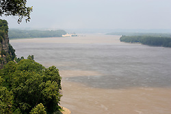 July 2007:  The powerful, muddy Mississippi river shows how it got it's nickname.  Several swaths of mud can be seen working teir way into the channel. seen on vacation in Cape Girardeau Missouri at the Trail of Tears State Park.
