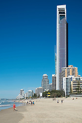 Skyline of Surfers Paradise town from beach on The Gold Coast in Queensland Australia