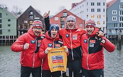 12.03.2020, Granasen, Trondheim, NOR, FIS Weltcup Skisprung, Raw Air, Trondheim, Herren, im Bild v.l.: Co Trainer Harald Diess (AUT), Gesamtweltcupsieger Stefan Kraft (AUT), Cheftrainer Andreas Felder (AUT), Co Trainer Robert Treitinger (AUT) // Assistent Coach Harald Diess Overall Worldcup Winner Stefan Kraft (AUT) Headcoach Andreas Felder of Austria Assistent Robert Treitinger during men's 3rd Stage of the Raw Air Series of FIS Ski Jumping World Cup at the Granasen in Trondheim, Norway on 2020/03/12. EXPA Pictures © 2020, PhotoCredit: EXPA/ JFK