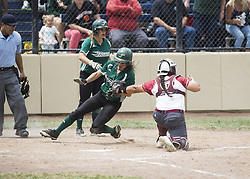 May 6, 2017 - Stockton, California, U.S.A - Lorren Sharp of Chico State gets the tag at home plate on Humboldt States Winona Vigil during the semi Finals. CCAA Softball Championships Friday May 5th 2017 at Arnaiz Softball Complex, Stockton CA. Chico States beat Humboldt State 2-1. (Credit Image: © Marty Bicek via ZUMA Wire)