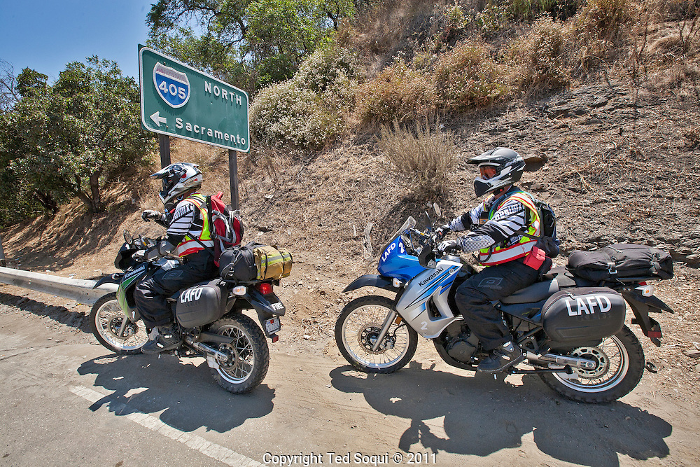 The two day 10 mile closure of the 405 freeway in L.A. known as Carmageddon begins..LAFD outfitted several of their paramedics on motorcycles to get through traffic faster and increase their response time during Carmageddon.
