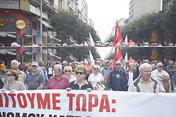 October 9, 2018 - Thessaloniki, Greece - Pensioners hold a big banner as they march during a protest at the center of the city. Hundreds of pensioners demonstrated at the northern Greek city of Thessaloniki against more pension cuts planned by the Greek government. (Credit Image: © Giannis Papanikos/ZUMA Wire)