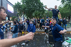 © Licensed to London News Pictures.  18/06/2021. London, UK. Scottish football supporters gather at Leicester Square, central London shortly before their EURO 2020 match against England at Wembley this evening. Photo credit: Marcin Nowak/LNP