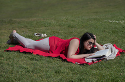 © Licensed to London News Pictures. 05/05/2016. London, UK. A visitor to Greenwich Park reads a book in warm sunshine. London is expecting 20 degrees of spring sunshine today.  Photo credit: Peter Macdiarmid/LNP