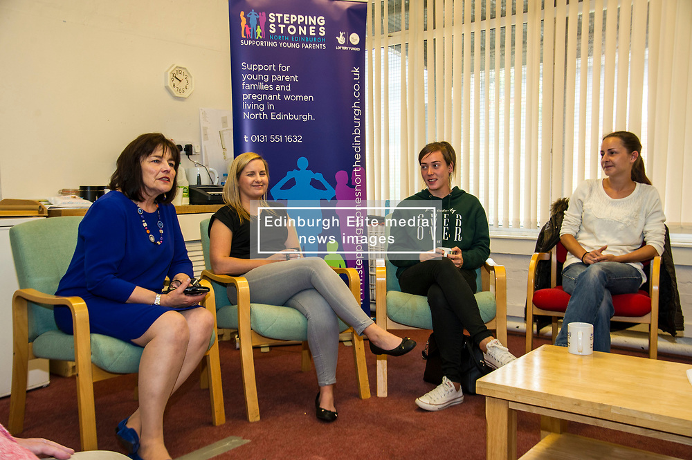 Pictured: Jeane Freeman met with parents to hear about the benefits of the Stepping Stones centre.<br /> Today social security minister Jeane Freeman MSP visited voluntary organisation  Stepping Stones (North Edinburgh), a group which helps young parent families and pregnant women, and met parents and children. The visit marked the introduction of the first Social Security (Scotland) Bill.<br /> Ger Harley   EEm 21 June  2017