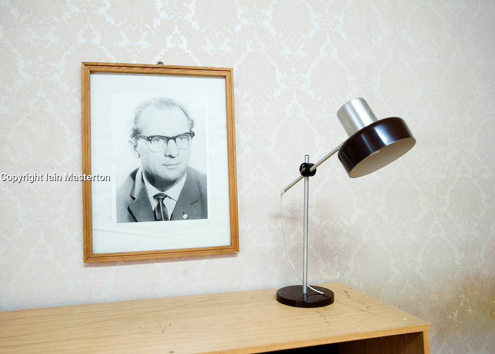 Portrait of Erich Honecker at former East German state secret security police or STASI prison at Hohenschönhausen in Berlin Germany