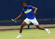 Darian King (BAR) in action during his match against Bjorn Frantangelo (USA). The Aegon Open Nottingham 2017, international tennis tournament at the Nottingham tennis centre in Nottingham, Notts , day 2 on Tuesday 13th June 2017.<br /> pic by Bradley Collyer, Andrew Orchard sports photography.