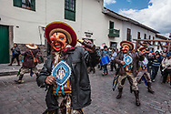 Feast of Corpus Christi. The Majeños following the procession of San Blas on the streets of the historic center of Cuzco