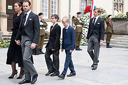 Prince Felix of Luxembourg, Princess Claire Luxembourg, Prince Louis of Luxembourg and sons Gabriel and Noah of Luxembourg out the cathedral Notre-Dame after the funeral of Grand Duke Jean of Luxembourg on May 4, 2019 in Luxembourg City, Luxembourg.<br /> Grand Duke Jean of Luxembourg has died at 98, April 23, 2019.<br /> (Photo by David Niviere/ABACAPRESS.COM)
