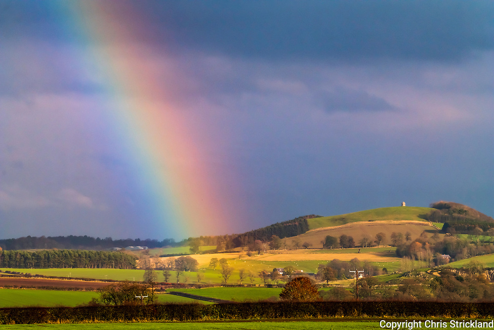 Ancrum, Jedburgh, Scottish Borders, UK. 21st November 2018.A rainbow arches over Lilliardsedge and the Ancrum Moor battlefield site.