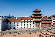 Aerial view toward Durbar Square with the white European style of Gaddhi Baithak in contrast to the traditional Newari style of Basantapur Tower