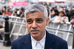 © Licensed to London News Pictures. 08/06/2019. London, UK. Mayor of London Sadiq Khan speaks to media at an event in Trafalgar Square to celebrate Eid ul-Fitr - the breaking of the fast. The festival marks the end of Ramadan, a holy month in the Muslim calendar when Muslims fast during the hours of daylight. This year, Eid occurred on Tuesday 4 June. Photo credit : Tom Nicholson/LNP