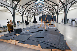 Modern art installation at Hamburger Bahnhof modern art museum in Berlin Germany