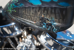 Detail of Kenny McDonald's custom Harley-Davidson Panhead at the Choppertime Old School Bike Show held at Willie's Tropical Tattoo during Daytona Bike Week. Ormond Beach, FL. USA. Thursday March 16, 2017. Photography ©2017 Michael Lichter.