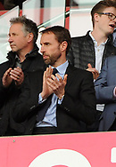 England manager Gareth Southgate looks on. Premier league match, Stoke City v West Ham Utd at the Bet365 Stadium in Stoke on Trent, Staffs on Saturday 29th April 2017.<br /> pic by Bradley Collyer, Andrew Orchard sports photography.