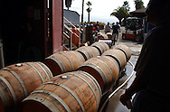 Barrels sit on their side after being filled with pinot noir at the Iron Horse Vineyards in Sebastopol, Calif. on Saturday Sept. 27, 2003. (Photo by Jakub Mosur)
