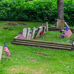 Columbia, PA - June 11, 2016: Restored markers of graves in Zion Hill Cemetery close to those of some Black Army veterans.
