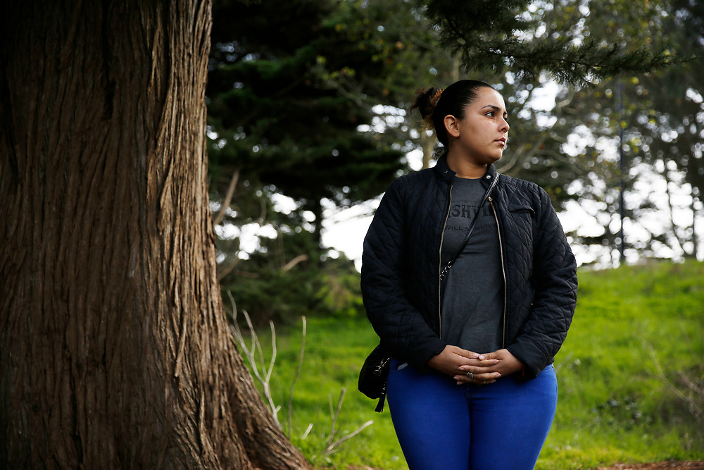 Sindy Flores stands for a portrait on Tuesday, Jan. 29, 2019, in San Francisco, Calif. Her one-year-old daughter is being held at a Texas shelter. Flores is staying in S.F. with relatives awaiting a claim for asylum.