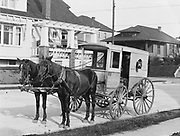 """1304D-001. Horse-drawn wagon lettered """"Damascus Buttermilk & Butter. Fresh Ranch Eggs."""" and """"J. A. Ritchie"""". business address of J. A. Ritchie grocery store was East 11th & Division,"""