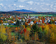 Autumn colors and the town Enosburg Falls, Vermont.