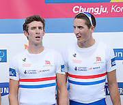 Chungju, South Korea. GBR LM4- Bronze Medalist, Adam FREEMAN-PASK (b), William FLETCHER (2)<br /> <br /> 2013 Rowing Championships, Tangeum Lake, International Regatta Course.  Sunday  01/09/2013 [Mandatory Credit. Peter Spurrier/Intersport Images]