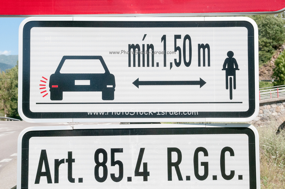 Street cyclist safety and warning sign for motorists and drivers. Photographed in the Pyrenees Mountain, Spain