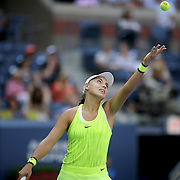 2016 U.S. Open - Day 10  Ana Konjuh of Croatia in action against Karolina Pliskova of the Czech Republic in the Women's Singles Quarterfinal match on Arthur Ashe Stadium on day ten of the 2016 US Open Tennis Tournament at the USTA Billie Jean King National Tennis Center on September 7, 2016 in Flushing, Queens, New York City.  (Photo by Tim Clayton/Corbis via Getty Images)