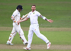 Dale Steyn dismisses Tom Latham during day two of the first test match between South Africa and New Zealand held at the Kingsmead stadium in Durban, KwaZulu Natal, South Africa on the 20th August 2016<br /> <br /> Photo by:   Anesh Debiky / Real Time Images