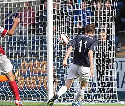 Falkirk's Conor McGrandles misses a chance.<br /> Falkirk 1 v 2 Hamilton, Scottish Championship 31/8/2013.<br /> ©Michael Schofield.