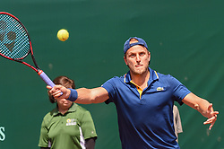 April 11, 2018 - Houston, TX, U.S. - HOUSTON, TX - APRIL 11: Denis Kudla (USA) returns a shot during his match against Ivo Karlovic (CRO) during the 2018 US Men's Clay Court Tennis Championships on April 11, 2018 at River Oaks Country Club, Houston, Texas. (Photo by Ken Murray/Icon Sportswire) (Credit Image: © Ken Murray/Icon SMI via ZUMA Press)