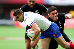 March 9, 2019 - Vancouver, BC, U.S. - VANCOUVER, BC - MARCH 09:  Sadek Deghmache (12) of France attempts to avoid a tackle by Tone Ng Shiu (3) of New Zealand during day 1 of the 2019 Canada Sevens Rugby Tournament on March 9, 2019 at BC Place in Vancouver, British Columbia, Canada. (Photo by Devin Manky/Icon Sportswire) (Credit Image: © Devin Manky/Icon SMI via ZUMA Press)