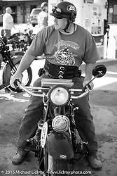 Kelly Modlin at a gas stop on his 1927 Henderson Deluxe during Stage 5 of the Motorcycle Cannonball Cross-Country Endurance Run, which on this day ran from Clarksville, TN to Cape Girardeau, MO., USA. Tuesday, September 9, 2014.  Photography ©2014 Michael Lichter.