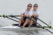 """Rio de Janeiro. BRAZIL.   GBR LM2X. Bow William FLETCHER and Richard CHAMBERS, move away from the start in their heat at the 2016 Olympic Rowing Regatta. Lagoa Stadium,<br /> Copacabana,  """"Olympic Summer Games""""<br /> Rodrigo de Freitas Lagoon, Lagoa.   Monday 8th August<br /> 2016 <br /> <br /> [Mandatory Credit; Peter SPURRIER/Intersport Images]"""